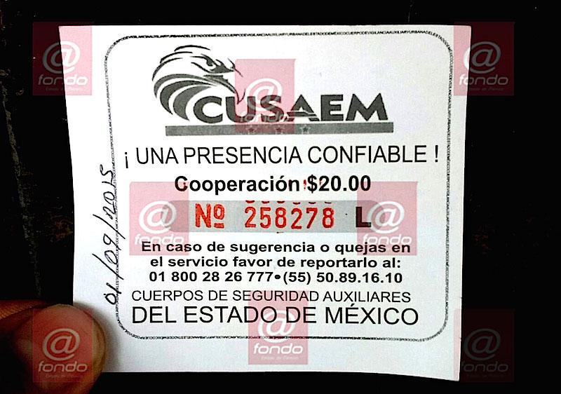 Uno de los comprobantes que entregan los elementos del CUSAEM a comerciantes.